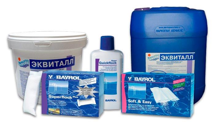 Химия для бассейна, устранение мутности воды
